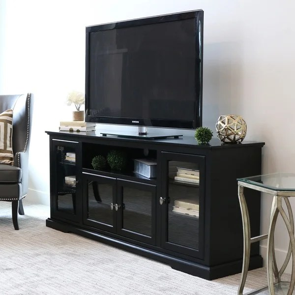 70 Inch Black Wood Highboy TV Stand Free Shipping Today