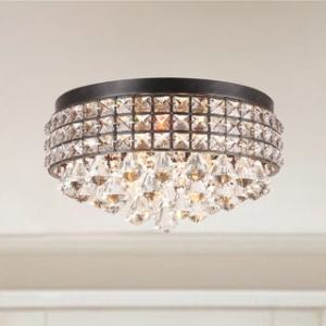 Buy Black Flush Mount Lighting Online at Overstock com   Our Best     Silver Orchid Taylor Iron Shade Crystal Flush Mount Chandelier