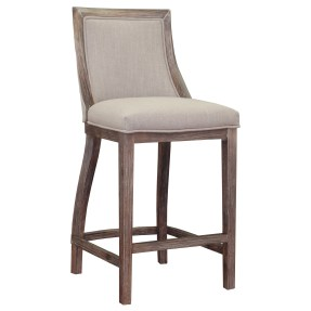 Stones & Stripes Park Avenue Beige Linen Counter Stool