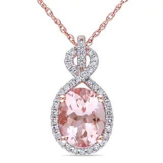 Shop Miadora 10k Rose Gold Morganite And 14ct TDW Diamond