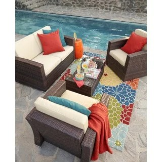 Shop The Hom Bahia 4 Piece Outdoor Wicker Conversation Set Free Shipping Today