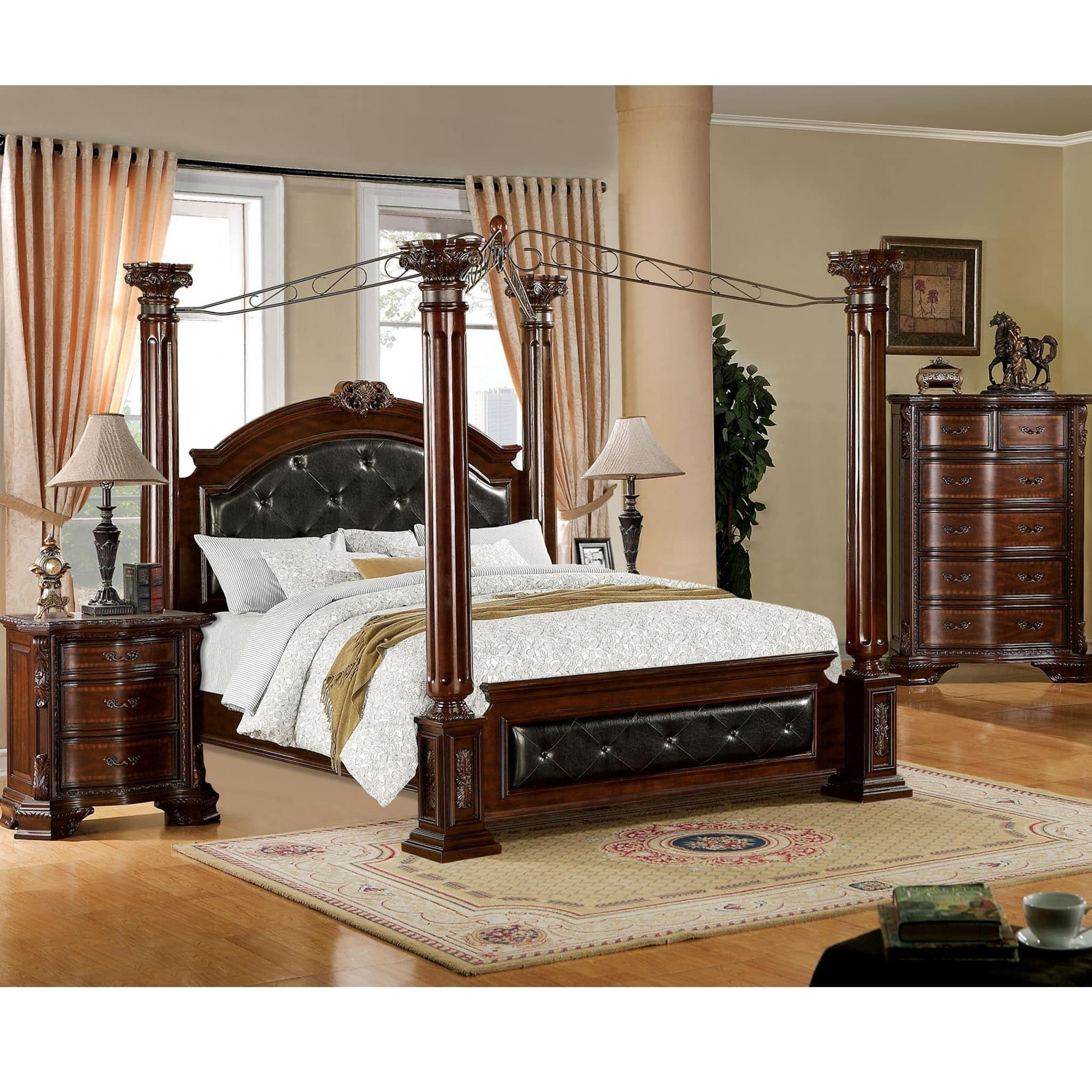 Furniture Of America Cane Traditional Cherry Solid Wood Canopy Bed On Sale Overstock 9216407