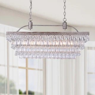 Antique Silver 6 Light Rectangular Glass Droplets Chandelier