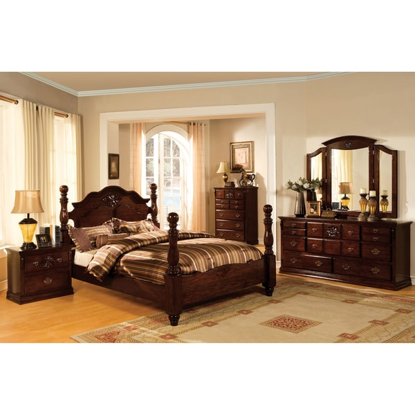 furniture of america weston traditional 4-piece glossy dark pine