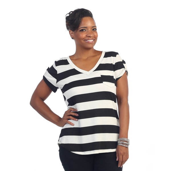 Hadari Womens Plus Size Short Sleeve Striped Blouse fa8f1109 02d4 4d30 a526 761bd3b6d060 600 Black And White Short Sleeve Blouse