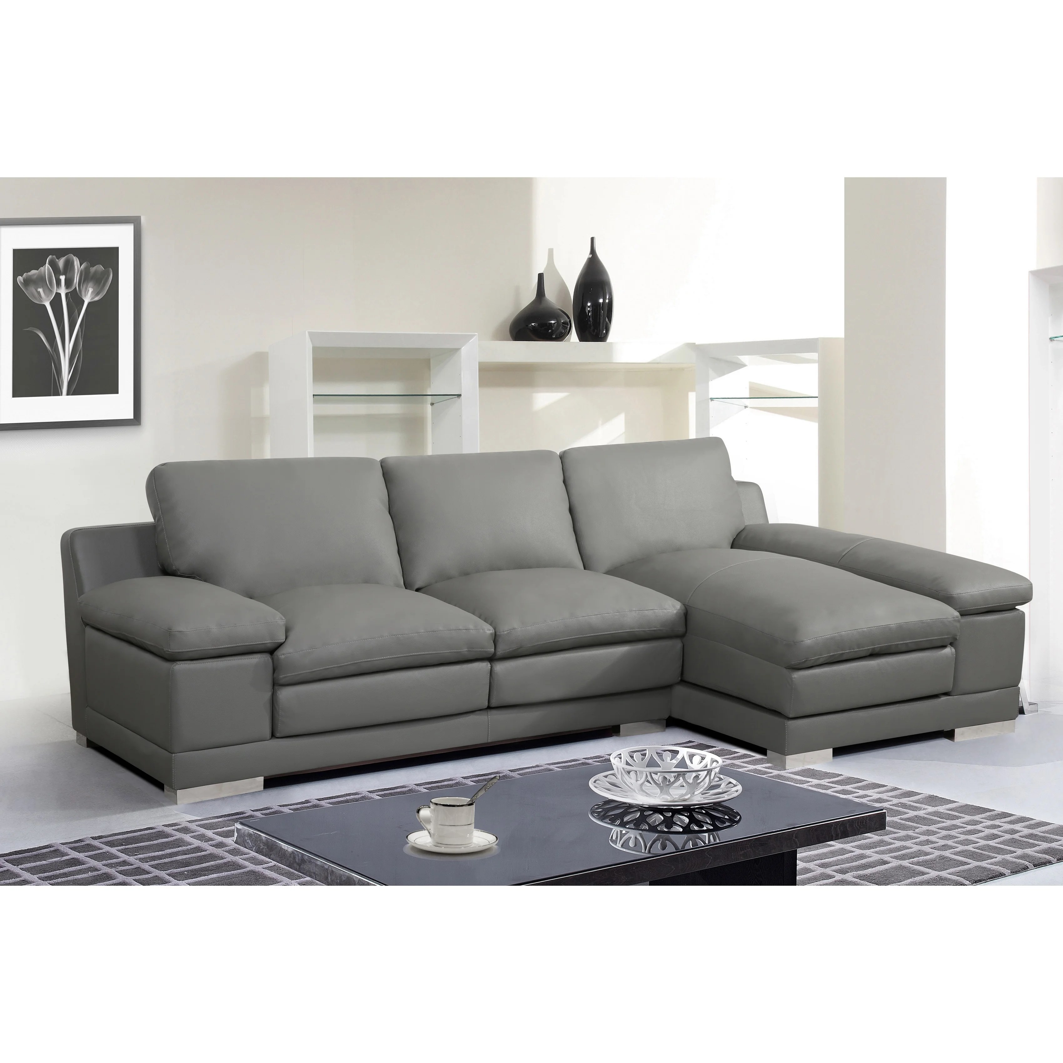 adrian contemporary bonded leather sectional sofa set