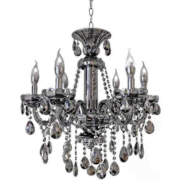 6 Light Mirrored Silver Crystal Candelabra Chandelier