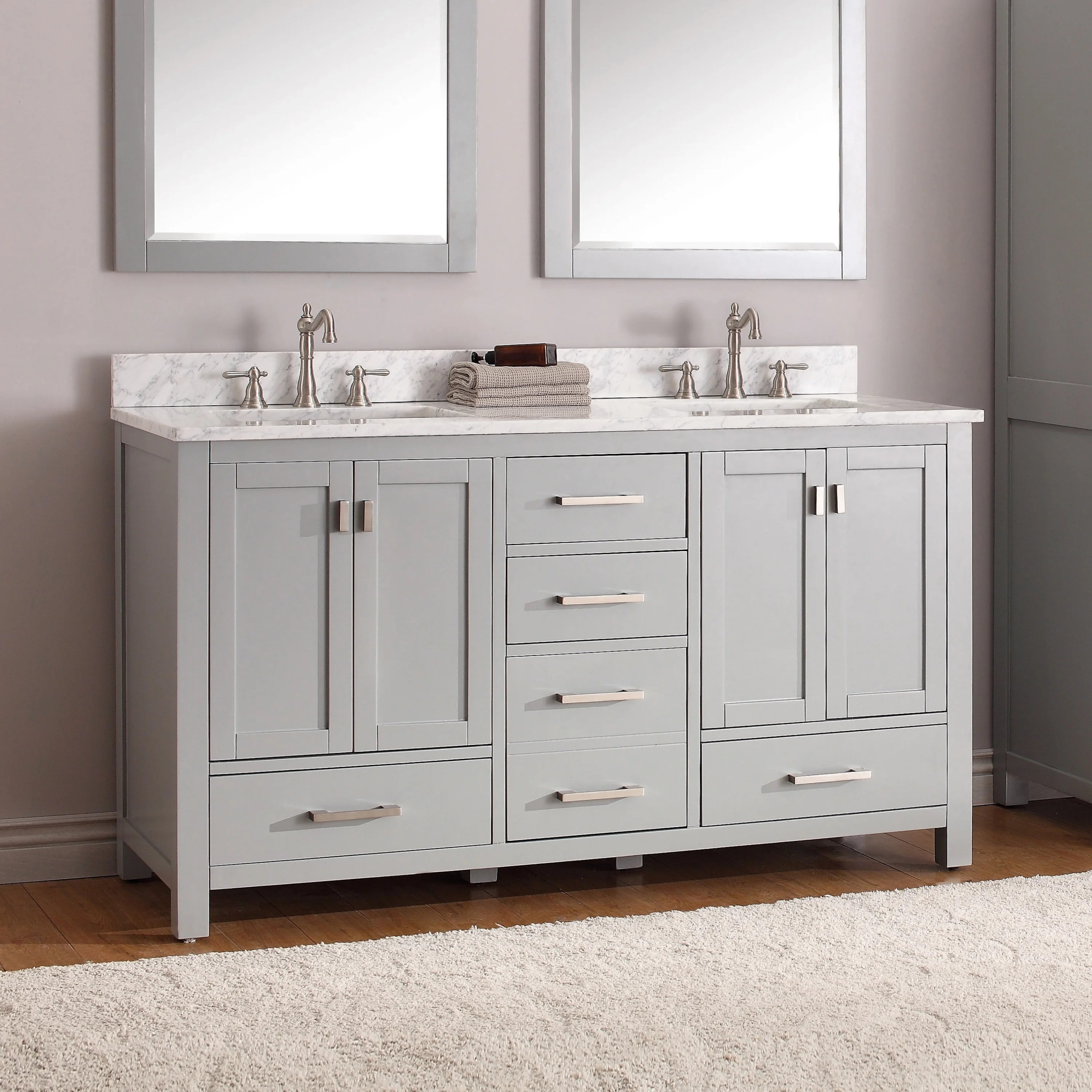 avanity modero 61 inch double vanity combo in chilled gray with top and sink
