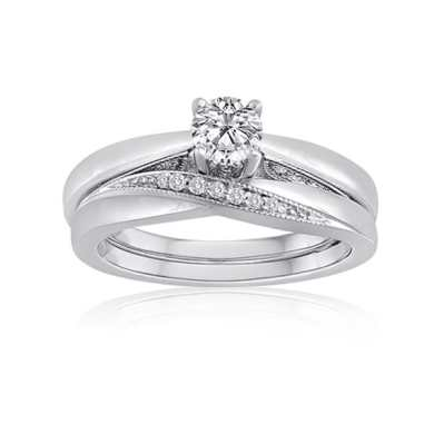 Shop Platinaire Sterling Silver 1 2ct TDW Diamond Solitaire Bridal     Platinaire Sterling Silver 1 2ct TDW Diamond Solitaire Bridal Ring Set