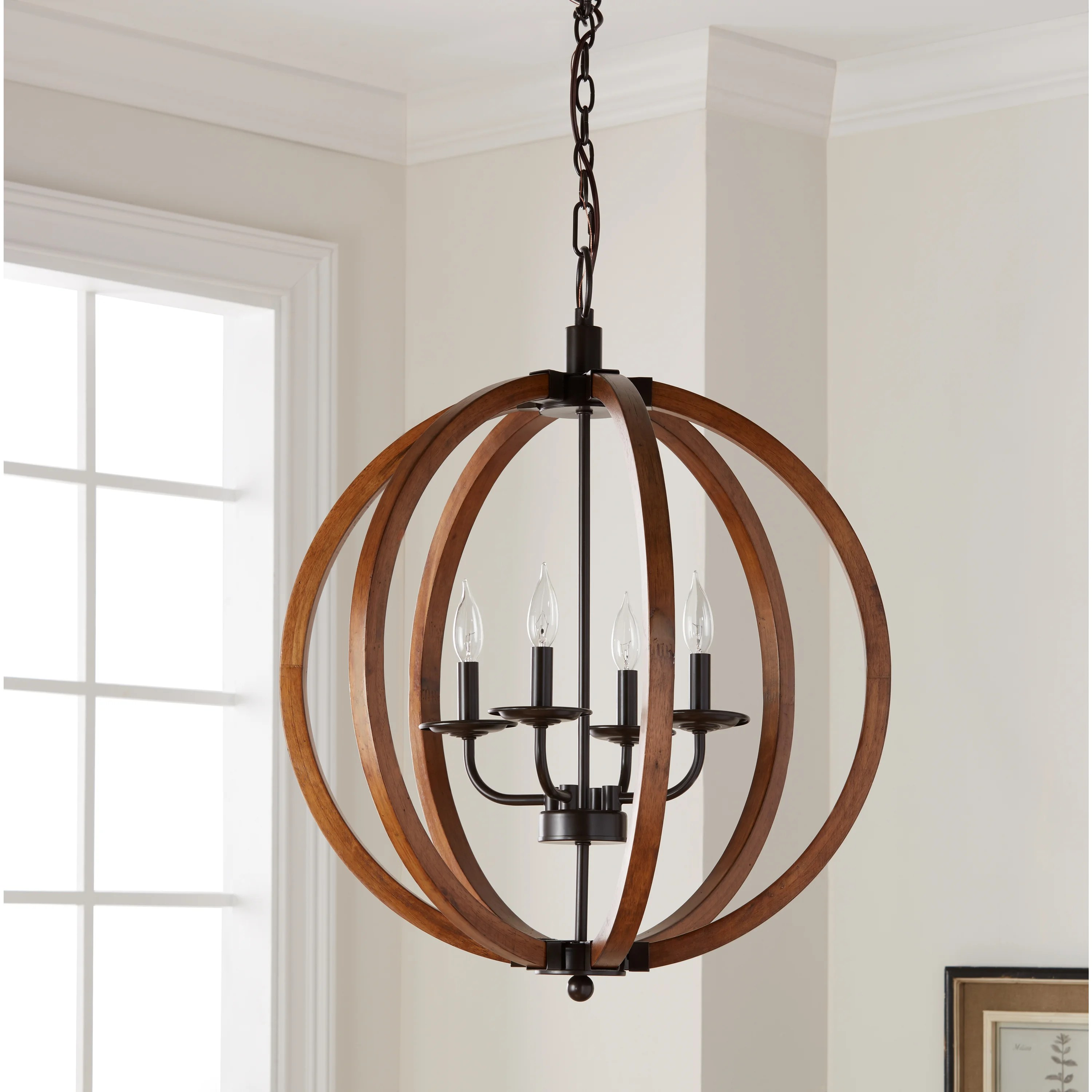 Home Decor   Clearance   Liquidation   Shop our Best Home Goods     Clearance  The Gray Barn Vineyard Distressed Mahogany and Bronze 4 light  Orb Chandelier