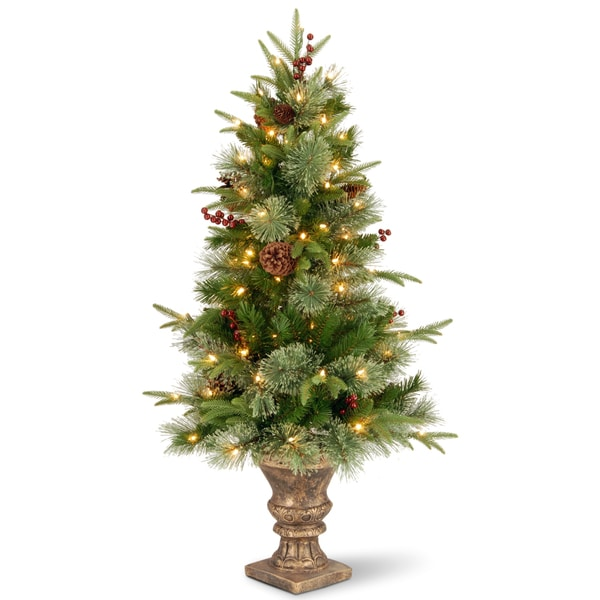 4 Foot Colonial Entrance Tree With Clear Lights Free