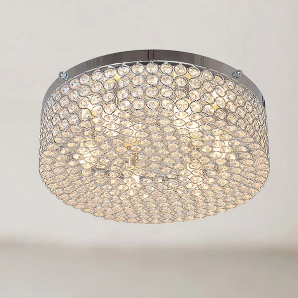 Berta 6 Light Chrome Flush Mount Chandelier With Clear Crystals
