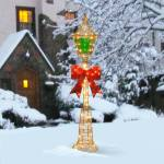 60 Inch Gold Wire Lamp Post With Green Pvc Film And Red Bow And 85 Clear Indoor Outdoor Lights Overstock 9603065