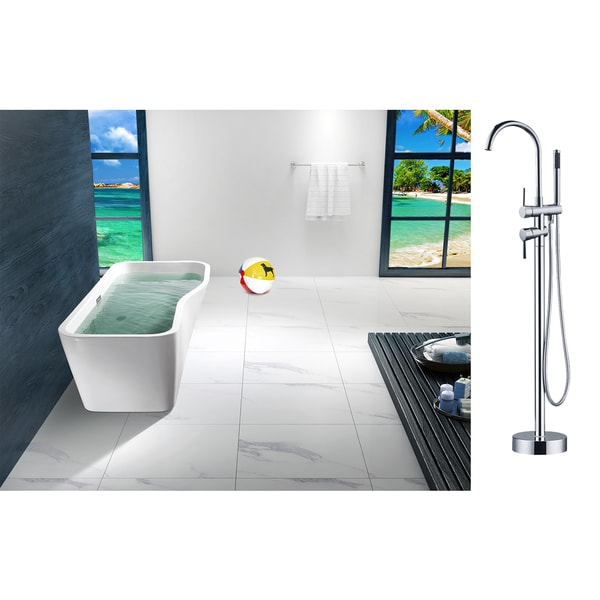AKDY 67 Inch OSF7698723 AK Europe Style White Acrylic Free Standing Bathtub With Faucet