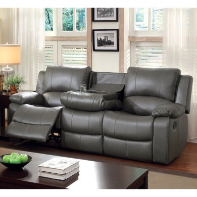 Shop Furniture of America Rembren Grey Bonded Leather Reclining Sofa     Furniture of America Rembren Grey Bonded Leather Reclining Sofa