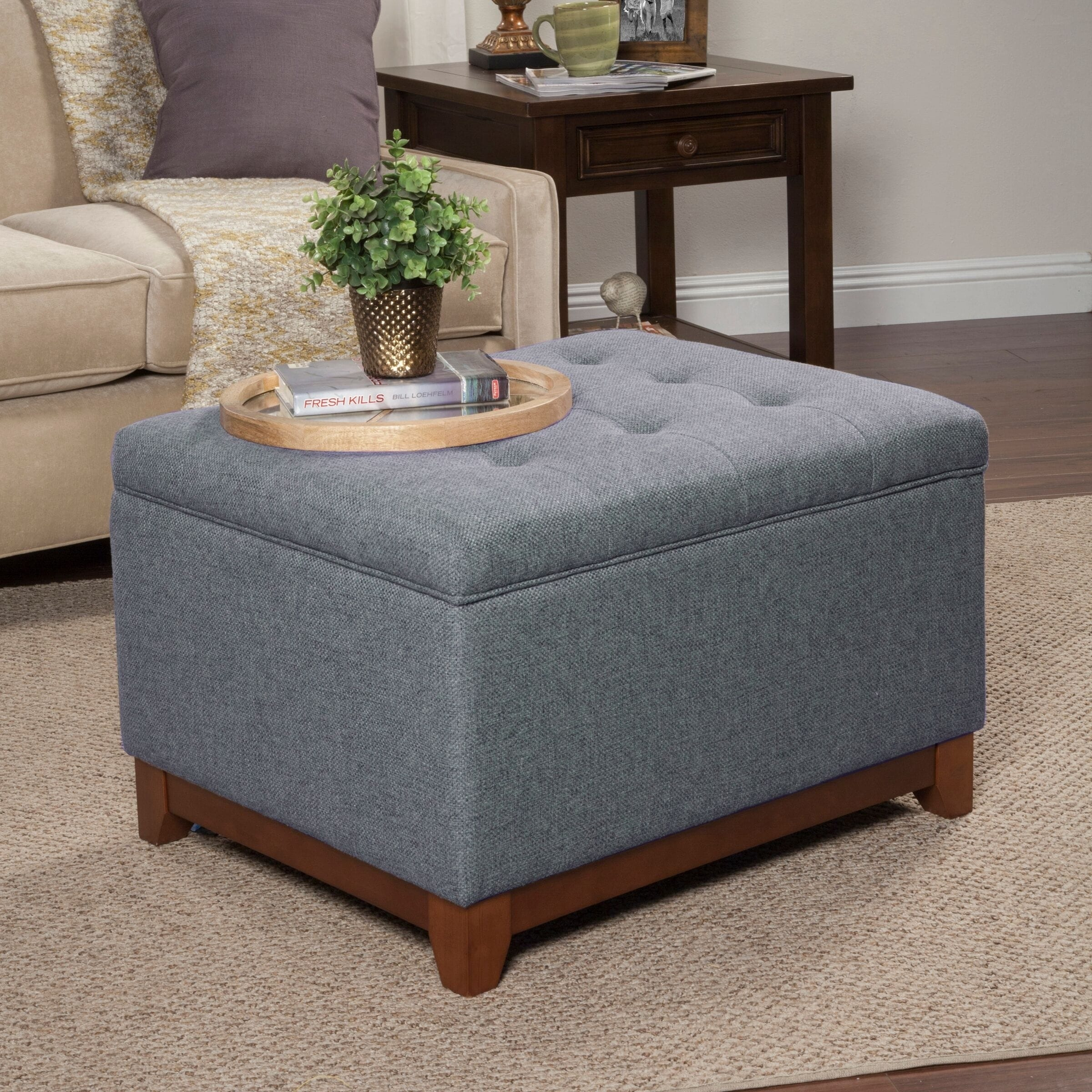 Copper Grove Germain Grey Large Square Tufted Bench With Wood Apron
