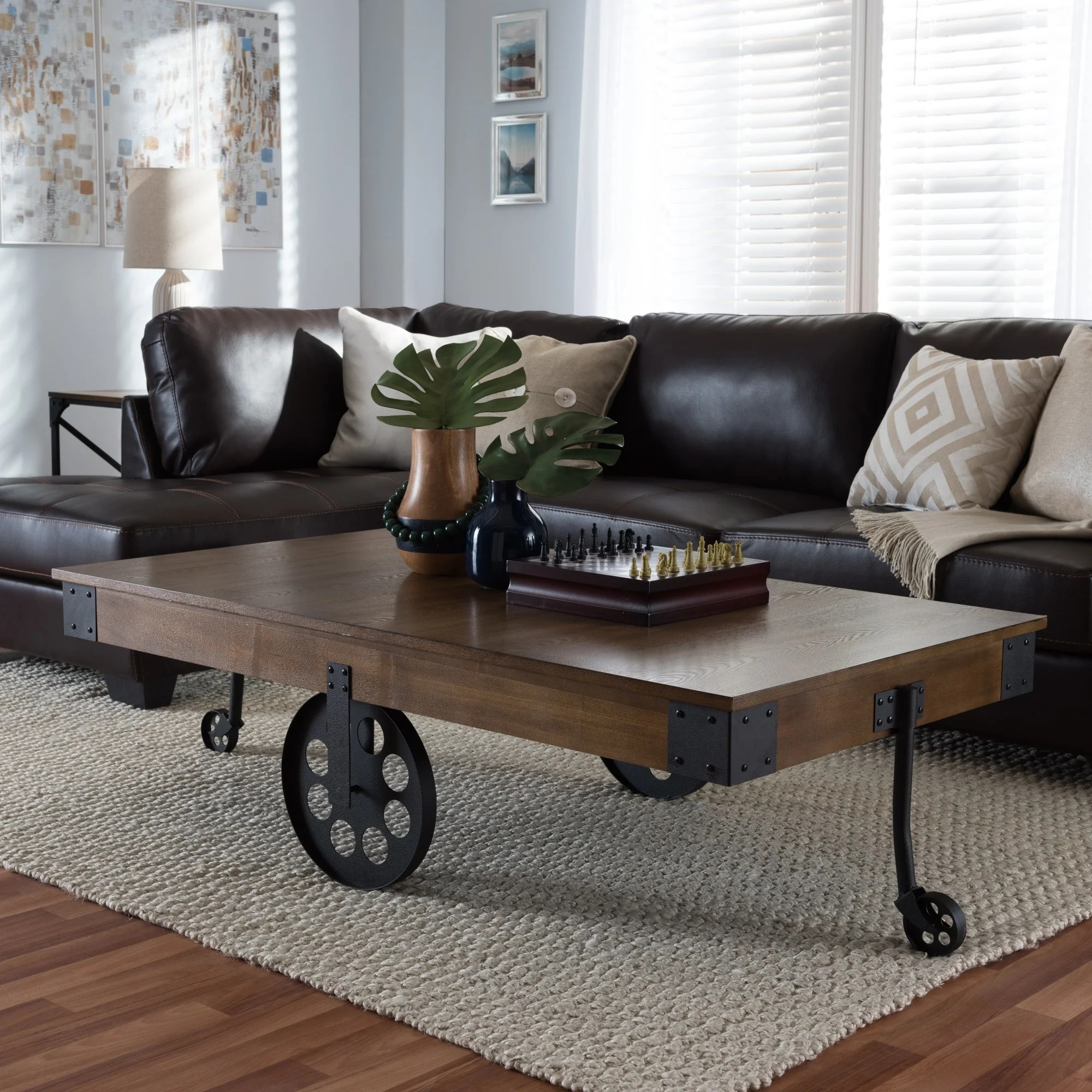 baxton studio lancashire rustic industrial vintage look wood and metal coffee table