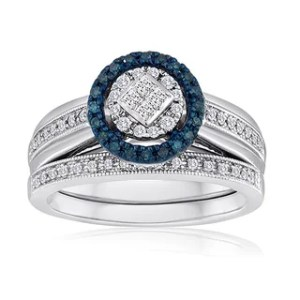 Shop Platinaire Sterling Silver 1 2ct TDW Diamond Solitaire Bridal     Platinaire 3 8ct TDW Blue and White Diamond Bridal Set