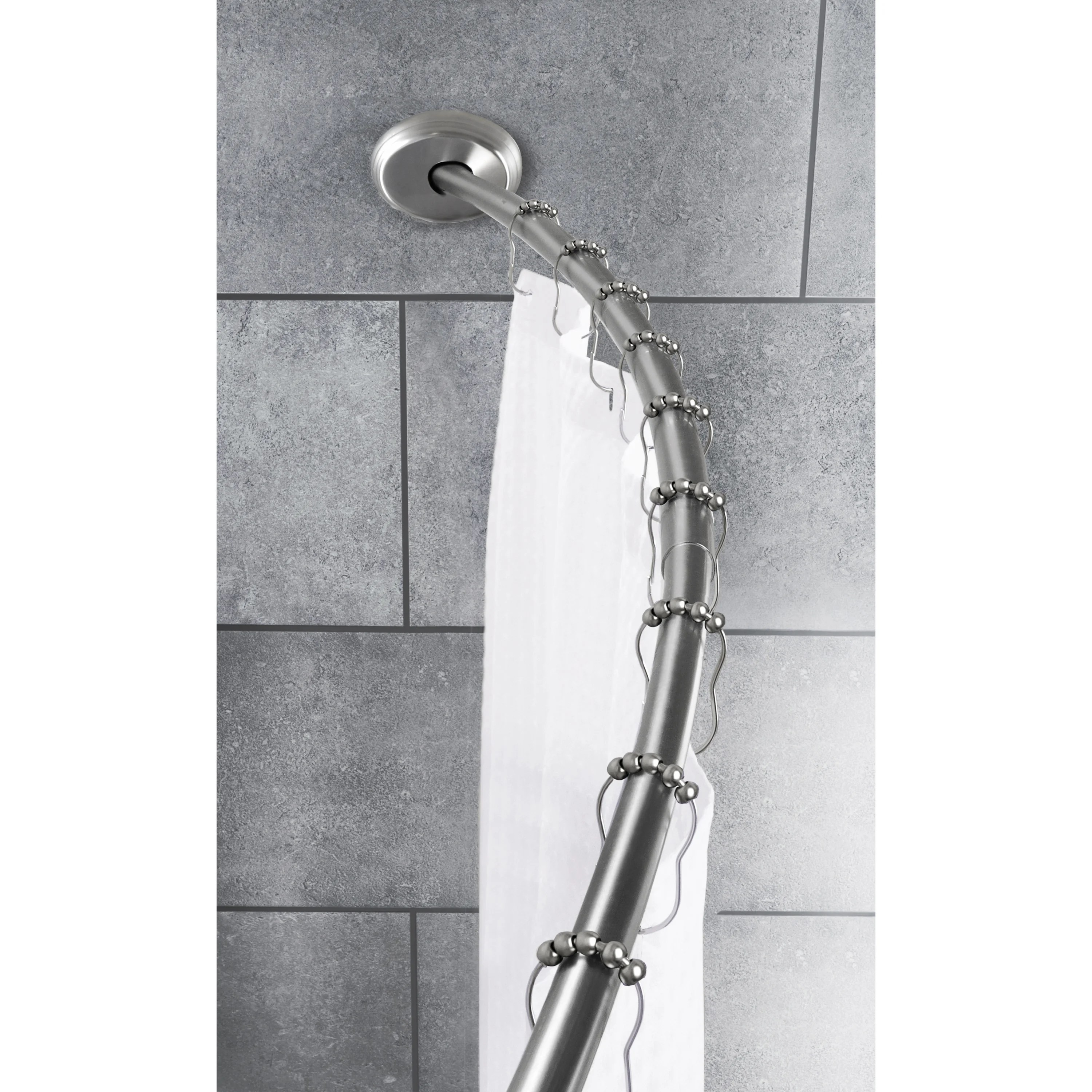 maytex smart rod dual mount curved shower curtain rod brushed nickel