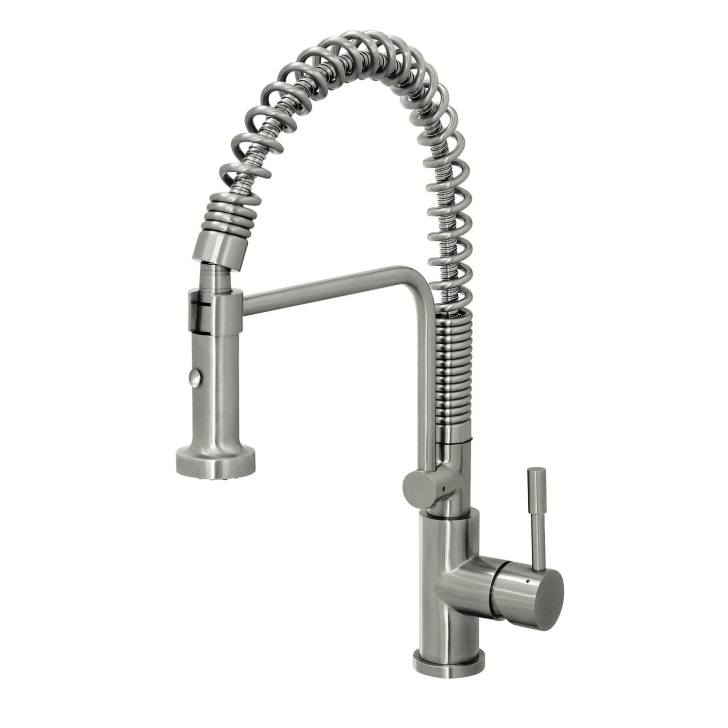 Steel Commercial Style Coiled Spring Kitchen Pull Down Faucet
