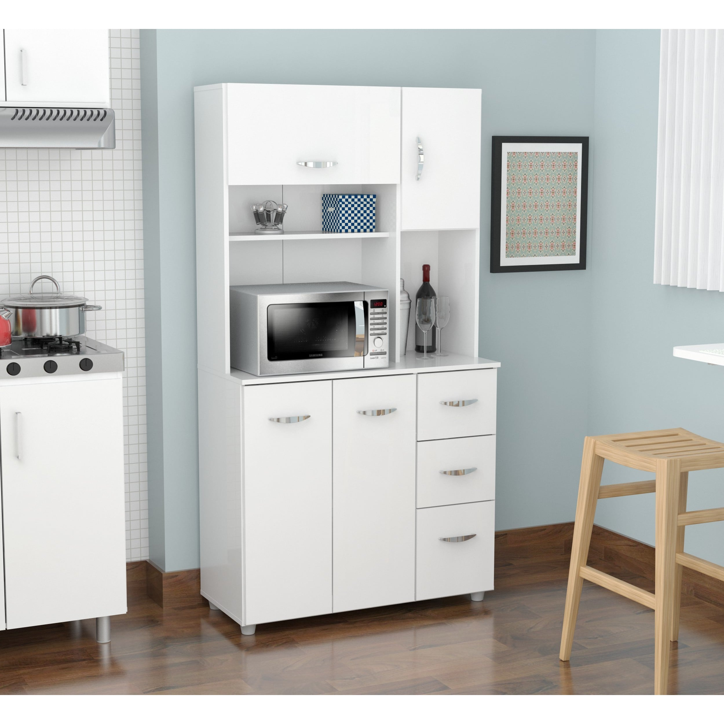 Shop White Kitchen Storage Cabinet On Sale Overstock 9988425