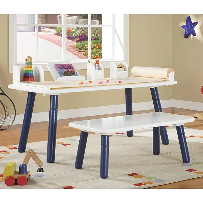 3 Stages Kid S Art Table And Bench Set In White And Blue