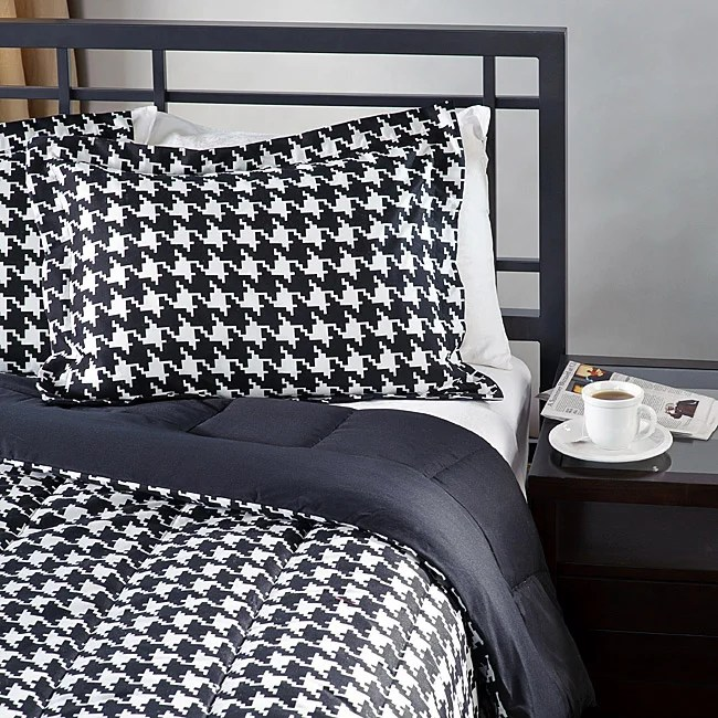 White Black Houndstooth Twin Size 2 Piece Comforter Set