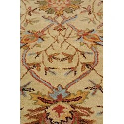 Hand Tufted Royal Garden Blossoming BeigeAqua Floral Rug
