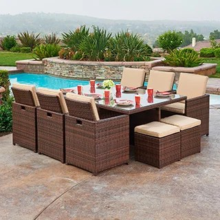 Shop The Hom Yuca 11 Piece Outdoor Wicker Dining Set Free Shipping Today Overstock 9832861