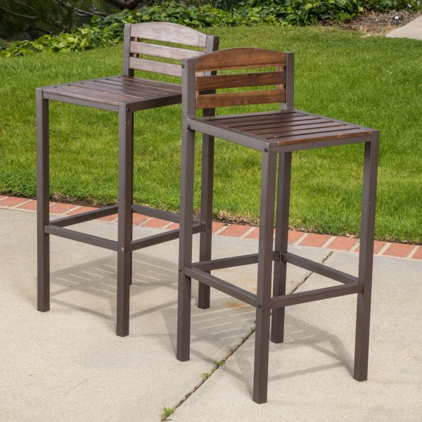 Shop Milos Outdoor 3 piece Acacia Wood Bistro Bar Set by Christopher     Milos Outdoor Acacia Wood Barstool  Set of 2  by Christopher Knight Home