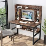 Shop Black Friday Deals On 47 Inches Computer Desk With Hutch Writing Desk With Shelves Overstock 30394876