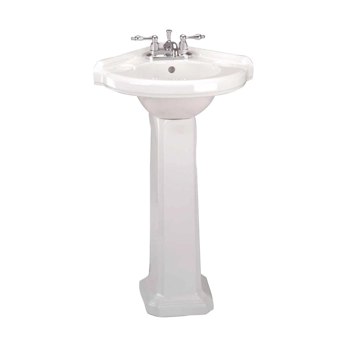 small corner bathroom white pedestal sink vitreous china
