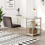 Computer Desk With Storage Shelves Faux Marble Overstock 31422278