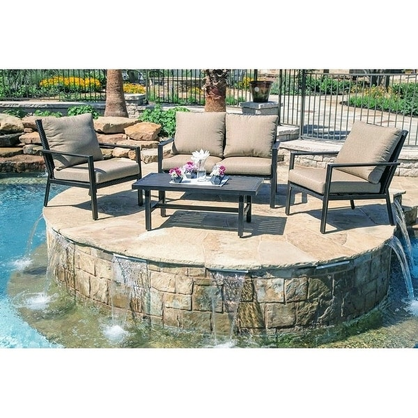 lone star 4 piece outdoor patio seating set by gardennaire 2x club chairs loveseat coffee table
