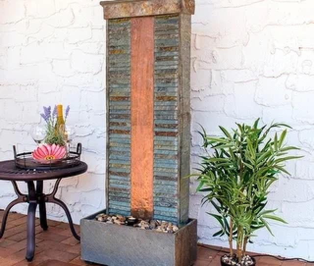 Sunnydaze Rippled Slate Indoor Fountain Copper Finish And Spotlight  Inch