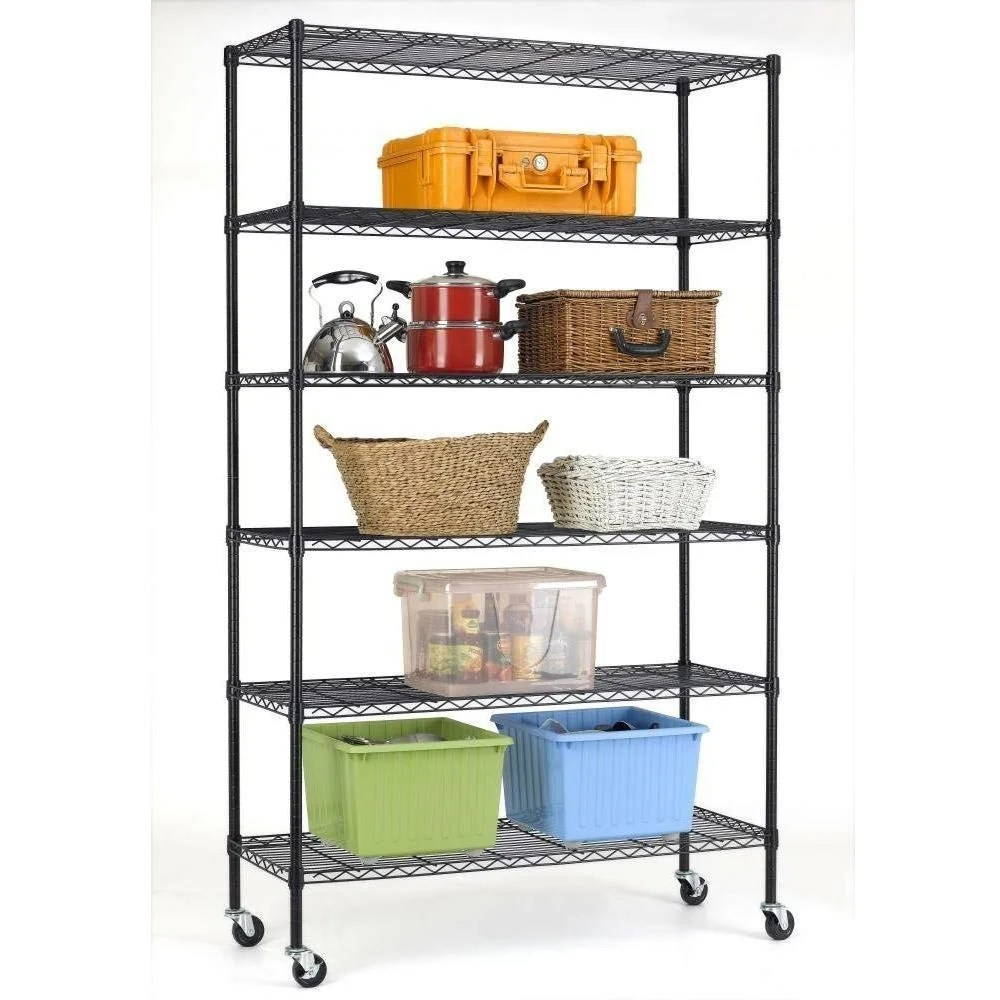 heavy duty 6 shelf adjustable metal shelving rack with casters black 48 x 18 x 78 inches