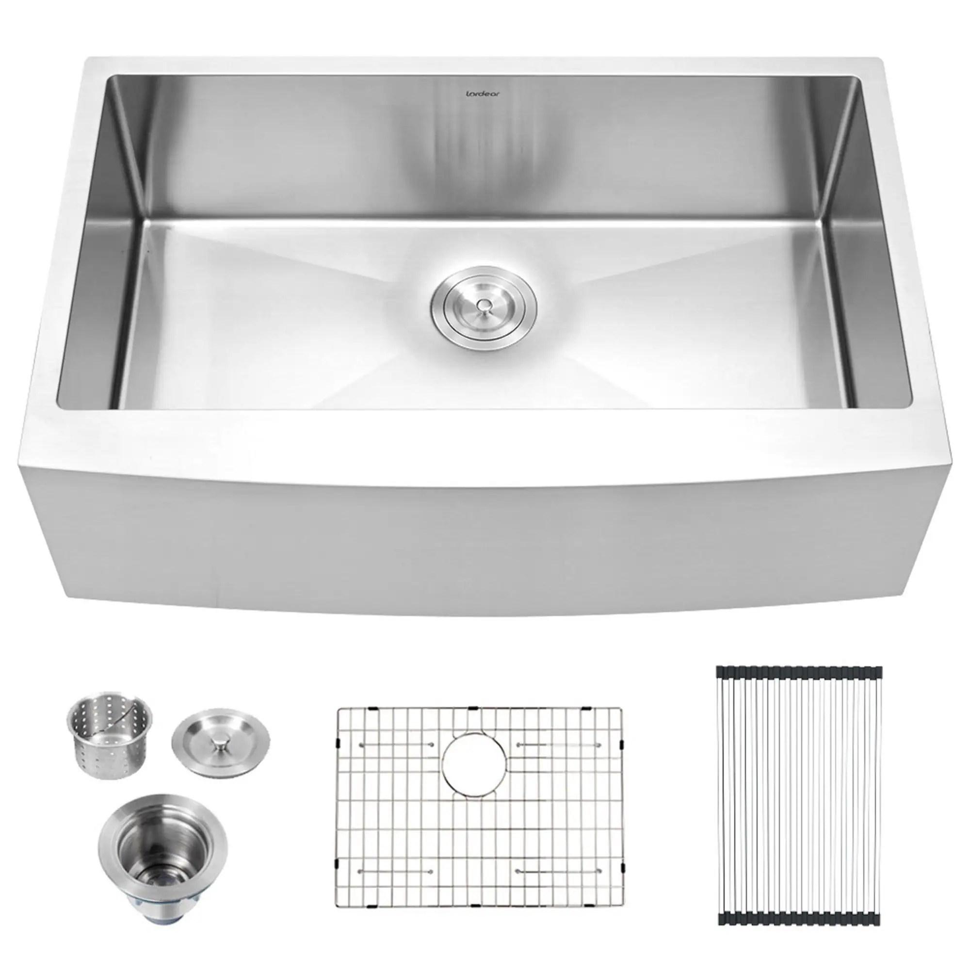 lordear 33 inch farmhouse kitchen sink 16 gauge stainless steel apron front single bowl farm kitchen sink