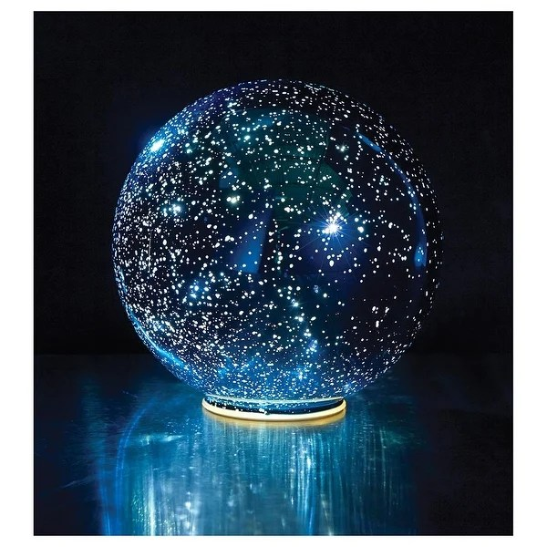 Lighted Mercury Glass Ball Sphere Blue Free Shipping