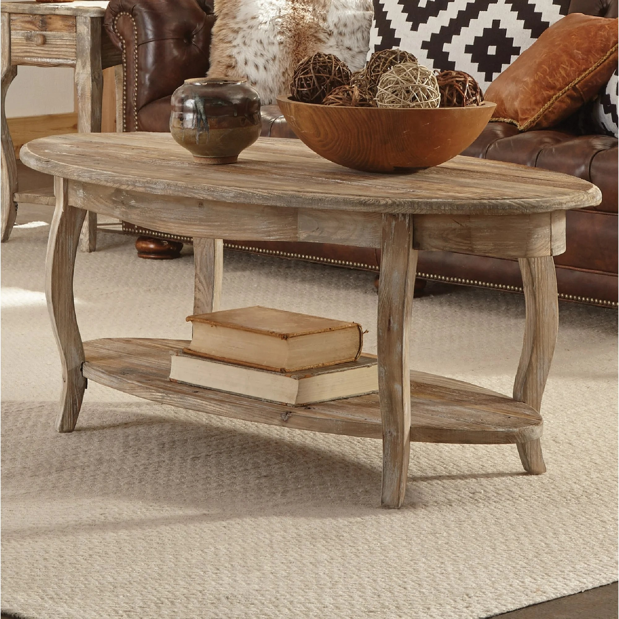 alaterre rustic 48 reclaimed wood oval coffee table