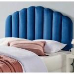 Shop Burney Scalloped Blue Velvet Upholstered King California King Size Headboard Overstock 31684695