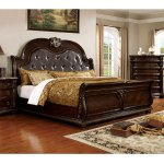 Shop Black Friday Deals On Furniture Of America Dame Traditional Cherry Faux Leather Sleigh Bed Overstock 12833833