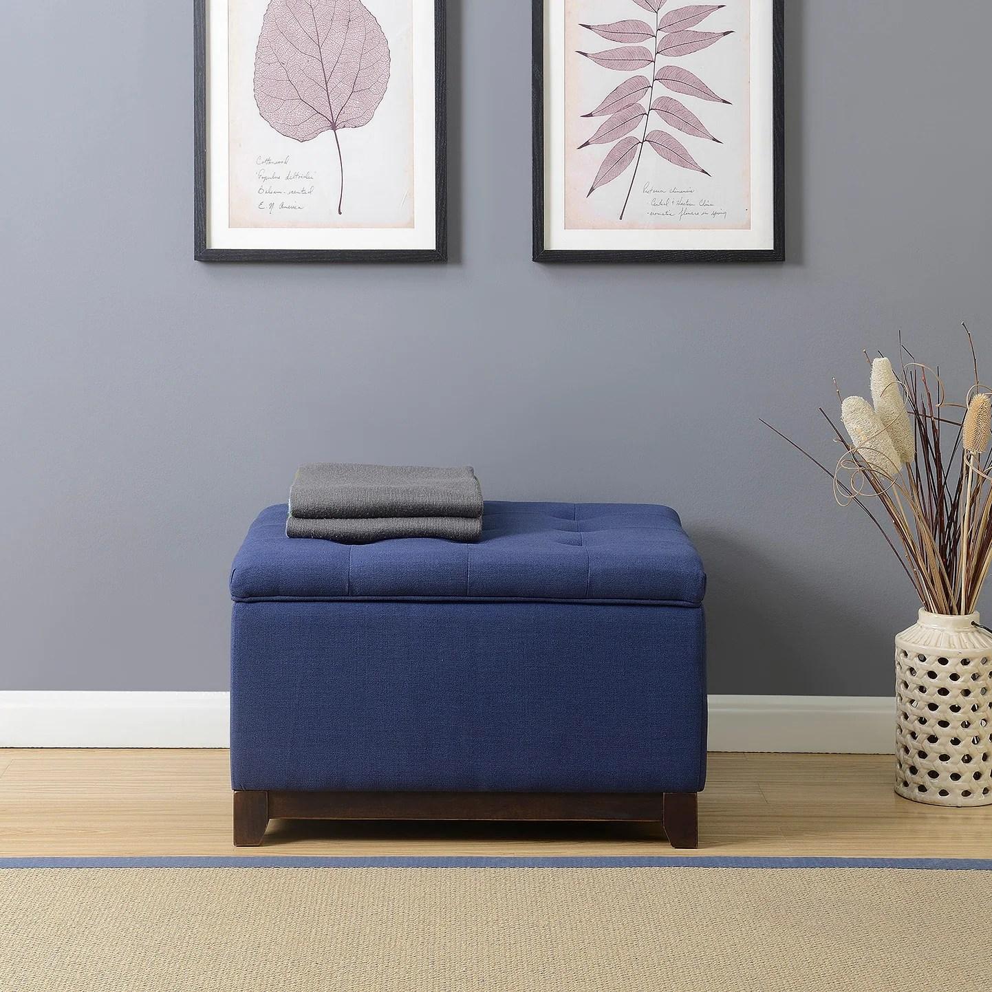 belleze linen ottoman storage bench stool footrest tufted navy blue