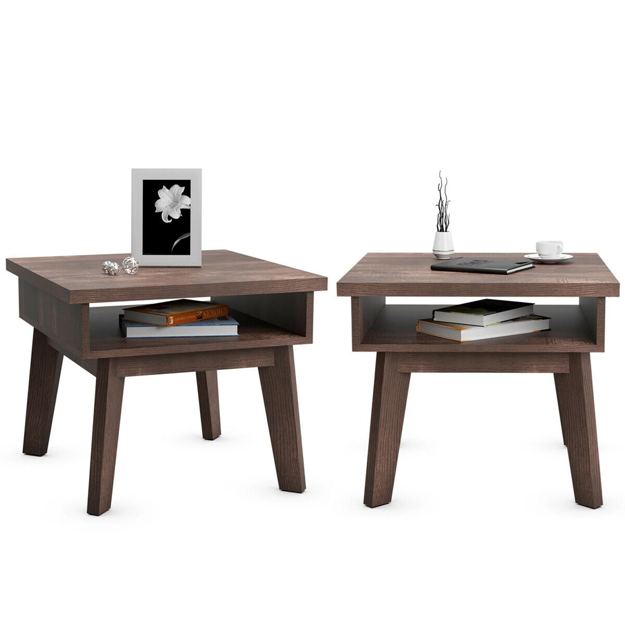 Shop Gymax Set Of 2 Nightstand Space Saving Side Sofa End Table W Open See Details On Sale Overstock 31960227