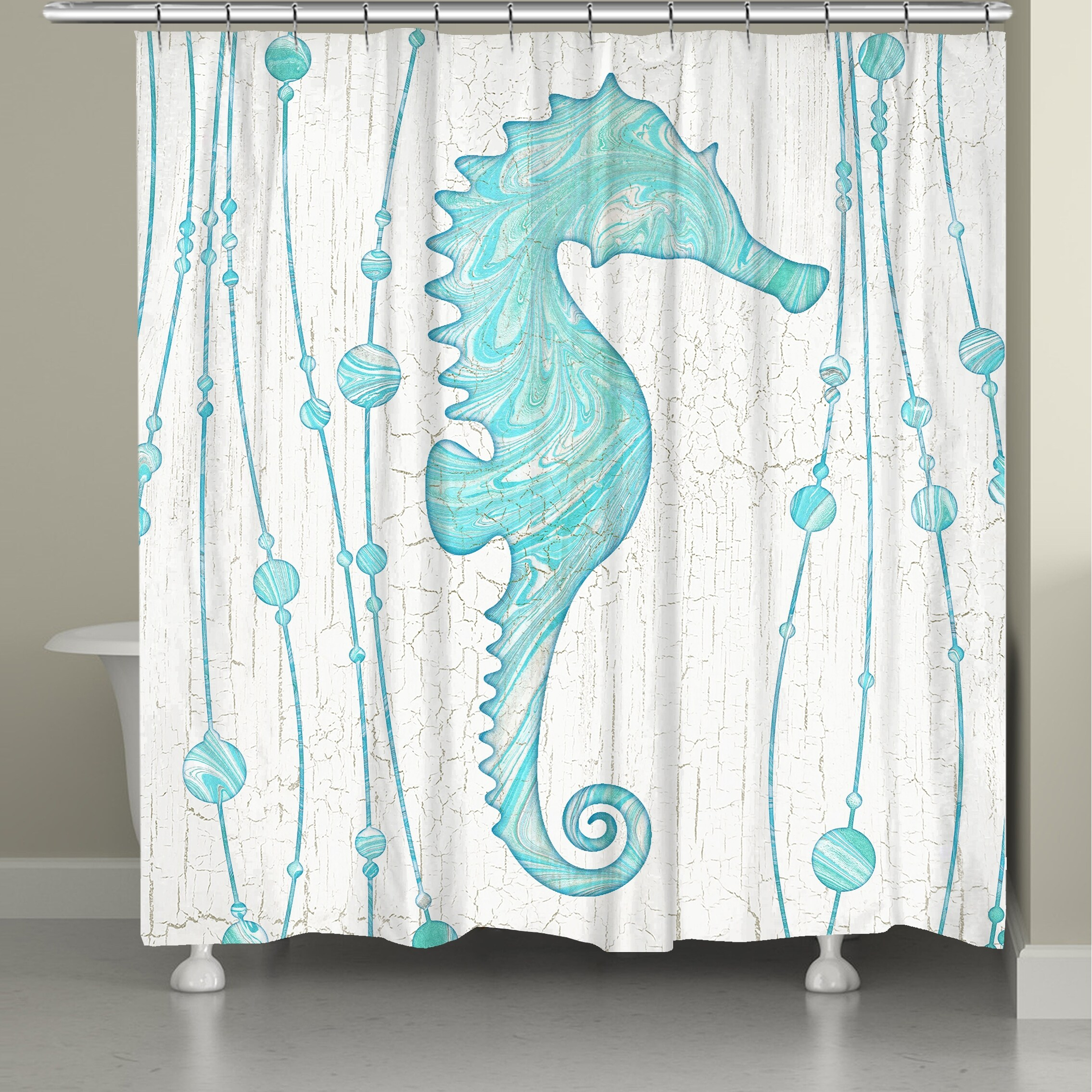 marble seahorse shower curtain