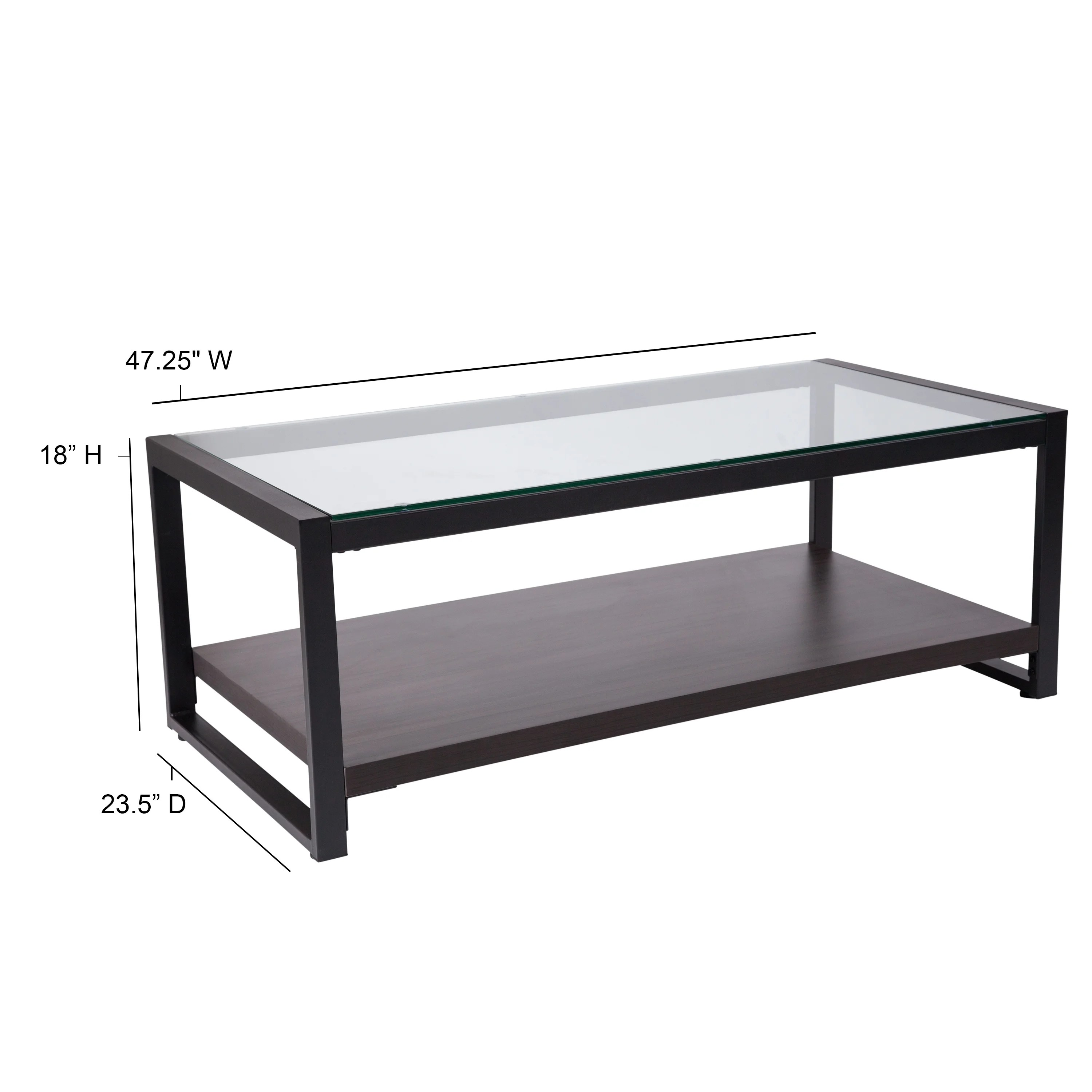 Glass Coffee Table With Wood Grain Raised Shelf And Metal Frame Overstock 27976198