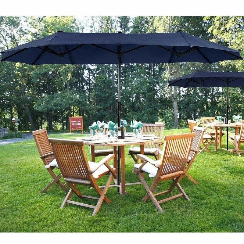 phi villa 13ft outdoor market umbrella double sided twin large patio umbrella with crank navy blue red beige