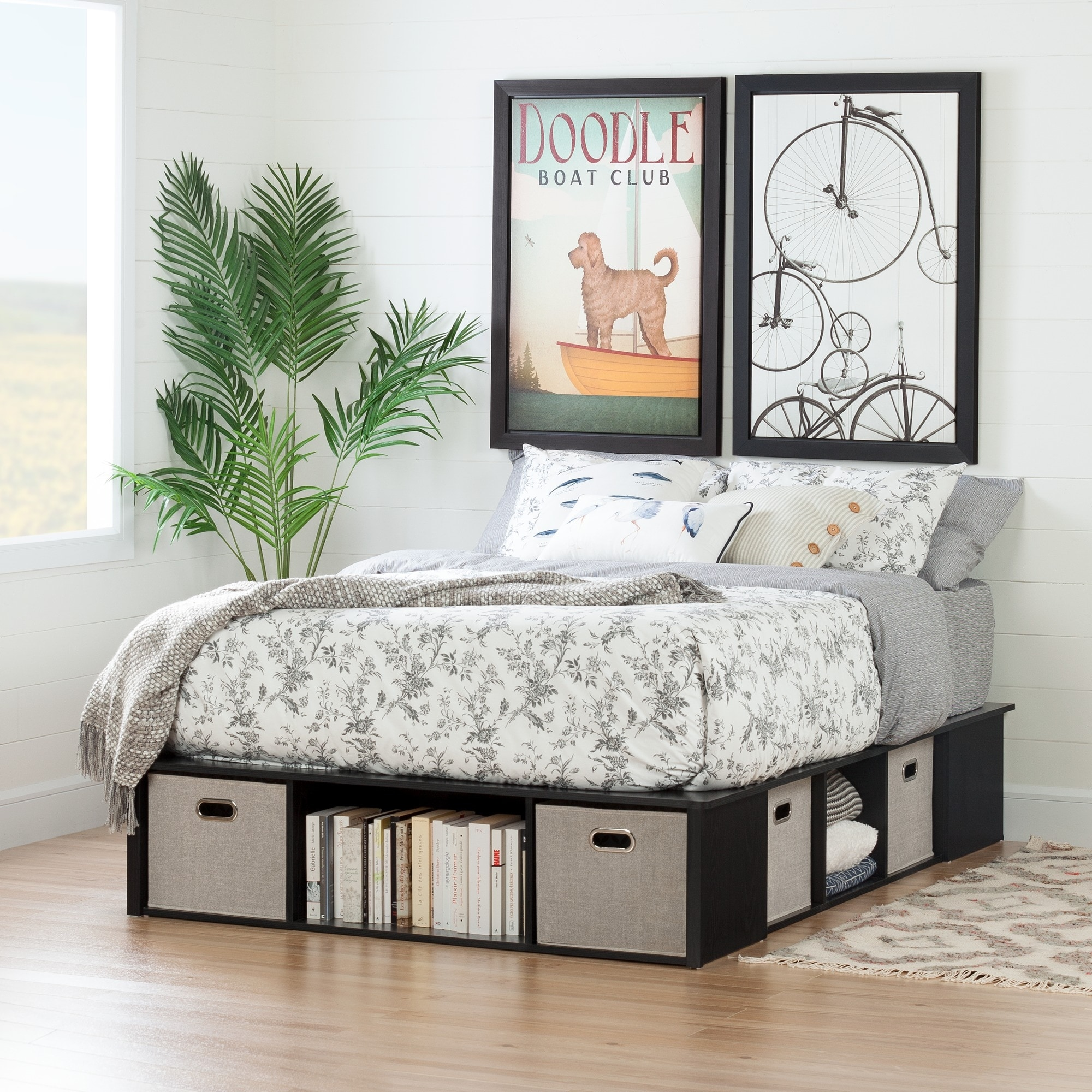 Flexible Contemporary Full Size Storage Bed W 4 Baskets Overstock 13050599 Black Oak And Taupe