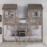 Rustic White Pine Twin Over Twin Tower Bunk Bed Overstock 28167470