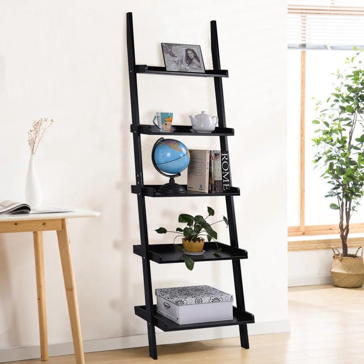 Costway Versatile Black 5 Tier Bookshelf Leaning Wall Shelf Ladder Bookcase Storage Display Furni