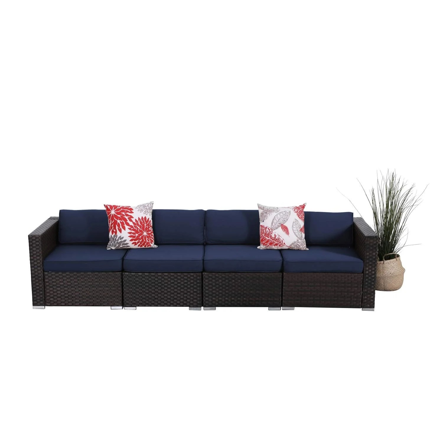 phi villa 4 piece patio outdoor furniture sectional sofa set all weather wicker rattan with navy blue cushions